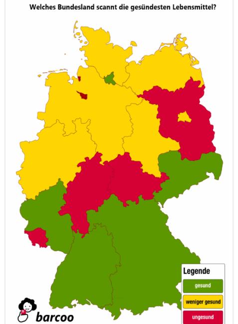 Welches Bundesland scannt die gesündesten Lebensmittel?